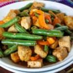 Green Beans Tofu Recipe on white plate