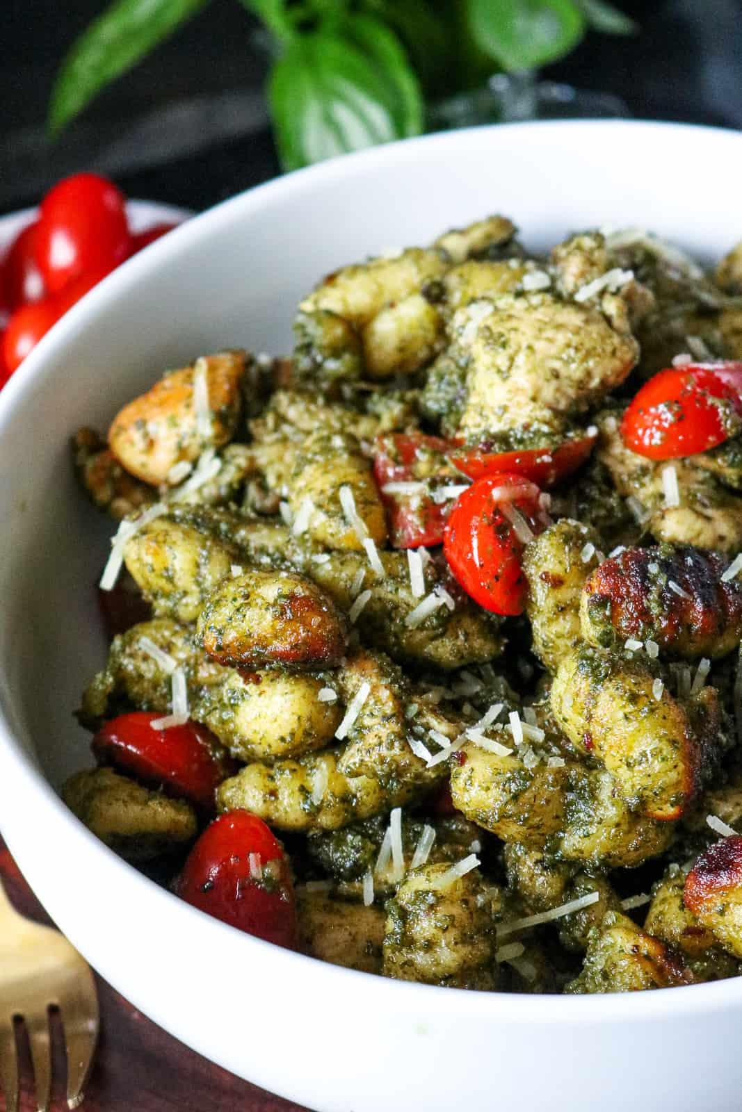 Pesto Chicken Basil Gnocchi with Tomatoes
