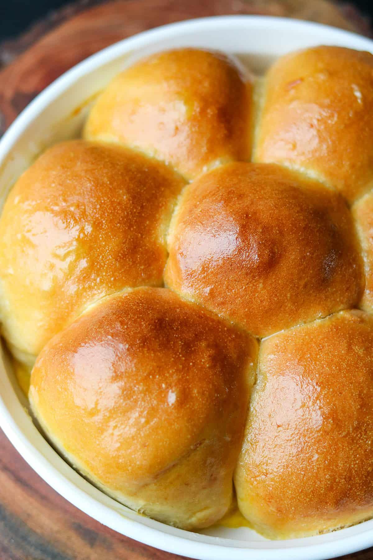 Baked Milk buns in white baking dish