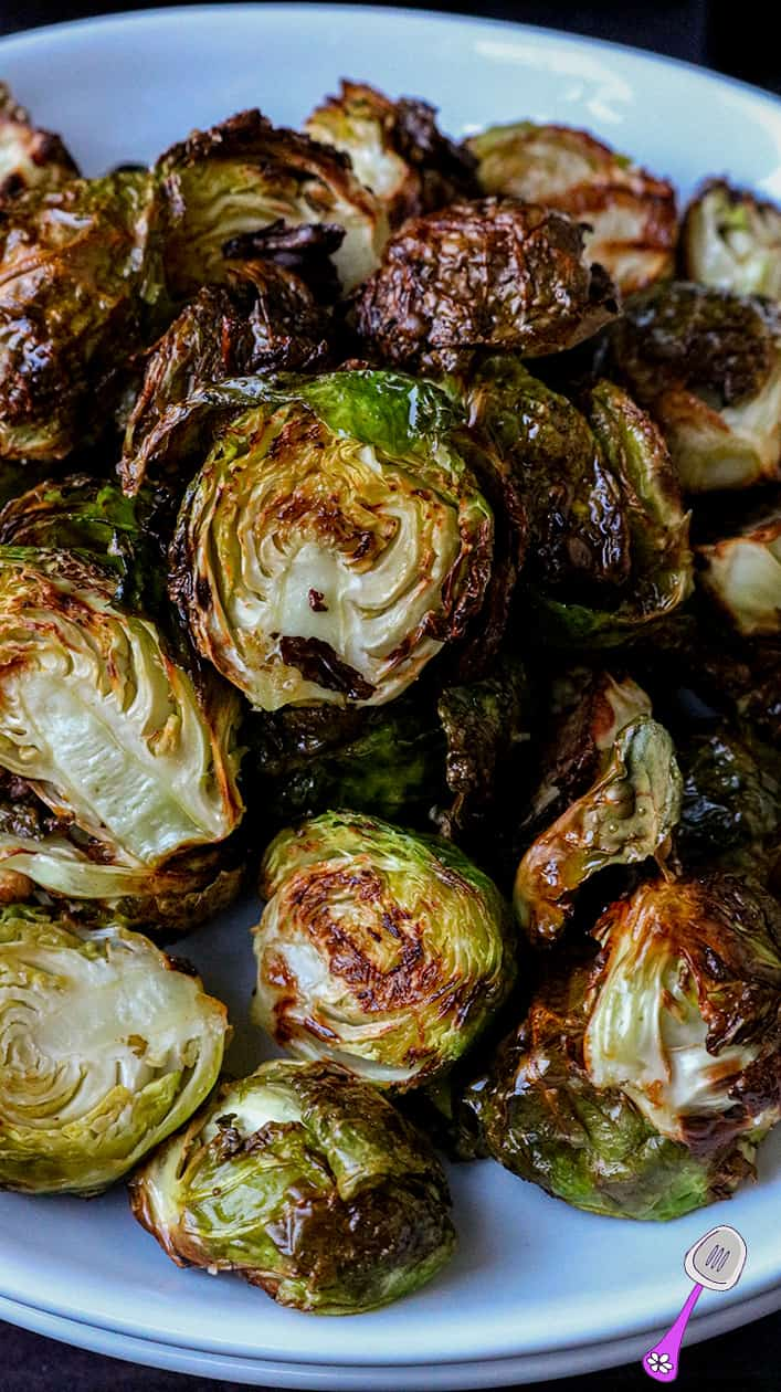 Crispy Air Fryer Brussels Sprouts on white plate
