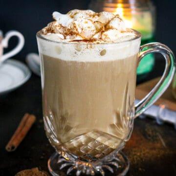 Homemade Pumpkin Pie frappuccino Latte Recipe in clear mug