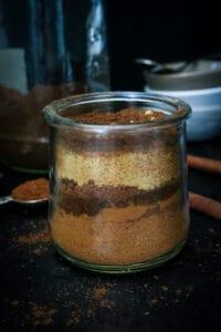 Homemade Pumpkin Pie Spice Recipe in clear jar