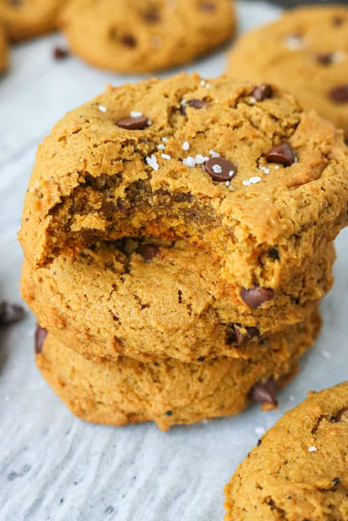 Vegan cookies with chocolate chips and pumpkin with salt on top