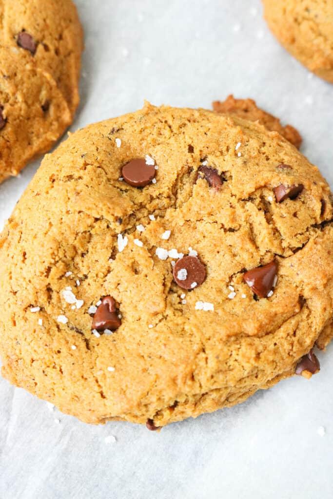 Vegan Pumpkin Chocolate Chip Cookies with salt on top