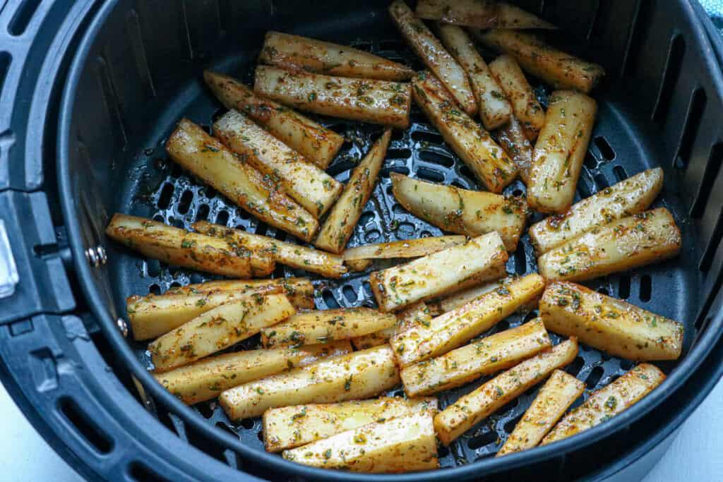 yuca fries in the air fryer basket