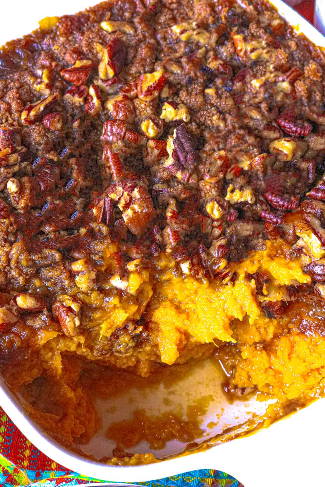 Ruth Chris Sweet Potato Casserole in white dish