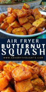 air fryer butternut squash recipe pin