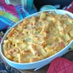 Haitian Mac and Cheese in white baking dish
