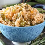 Rice and Orange in blue bowl