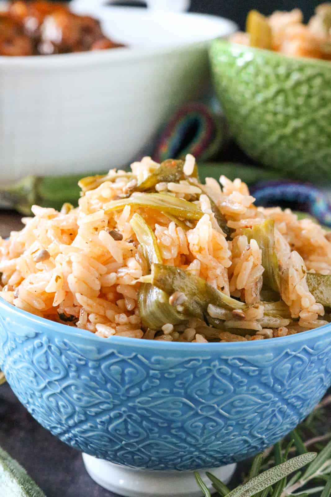 okra rice recipe in blue bowl