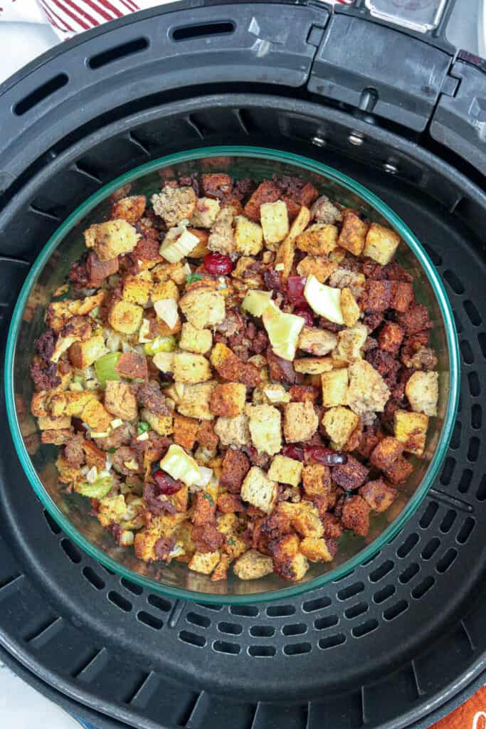 stuffing in baking dish