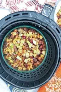 Cooked stuffing in the air fryer basket
