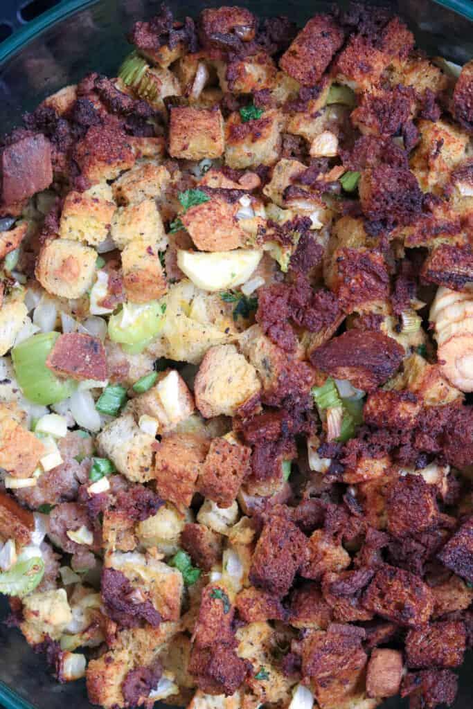 Closeup stuffing casserole Recipe