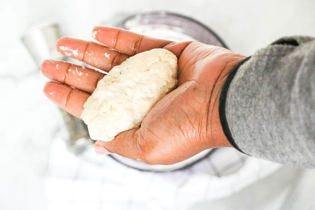dumpling rolled in hand