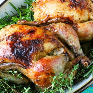 two Cornish Hen in a baking tray
