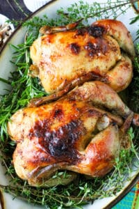 two Cornish Hens on a bed of fresh herbs in baking dish