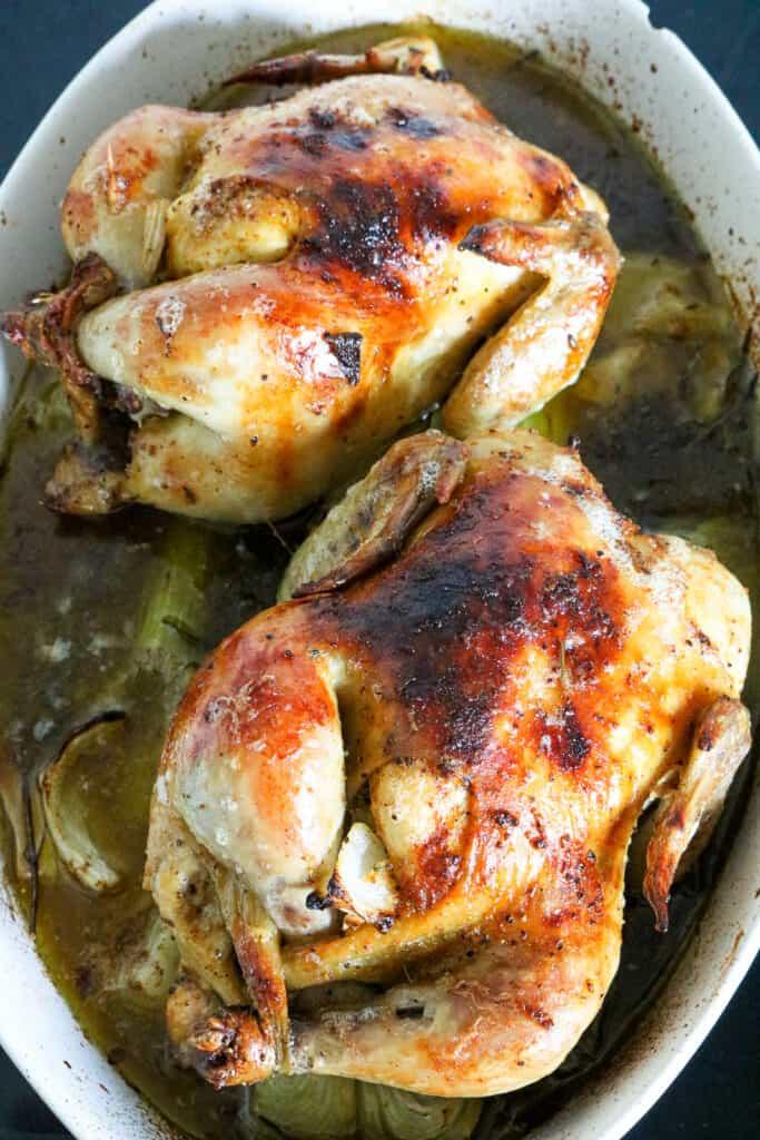Air Fryer Cornish Hen in baking dish