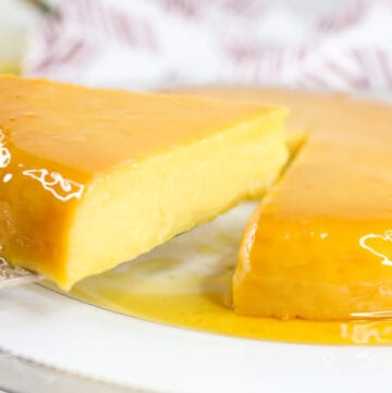 Cut out Flan Sliced being lifted