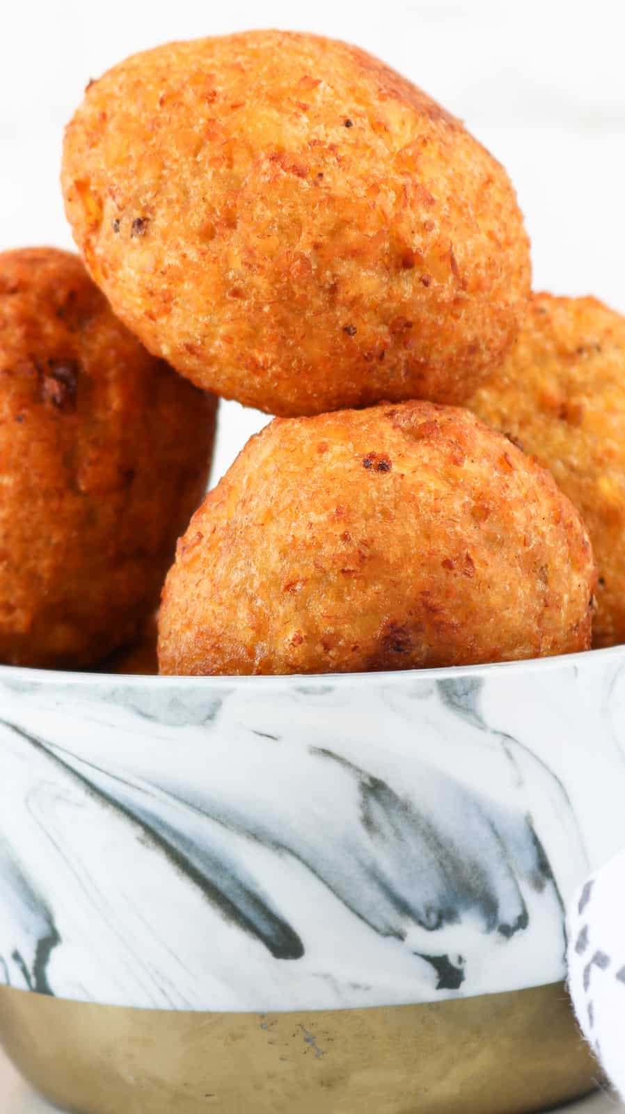 Plantain Balls close up stack on top of each other