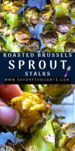 Brussels Stalk Recipe Pinterest Pin With two pictures and finger pressing one sprout