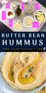 Pinterest Pin for hummus with ingredients on top and complete dip at the bottom