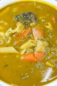 overhead closeup view of the soup