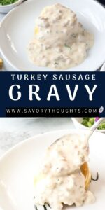 two pictures of gray on white plate recipe Pinterest pin.