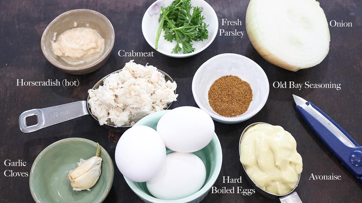 List of ingredients on brown board