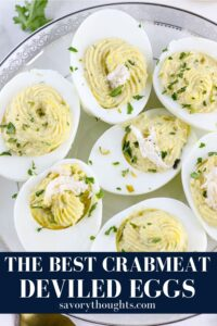 THE BEST DEVILED EGGS RECIPE PIN ON WHITE PLATE