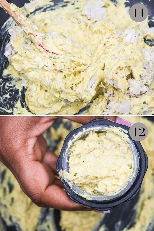 mixing yolk and crab in black bowl