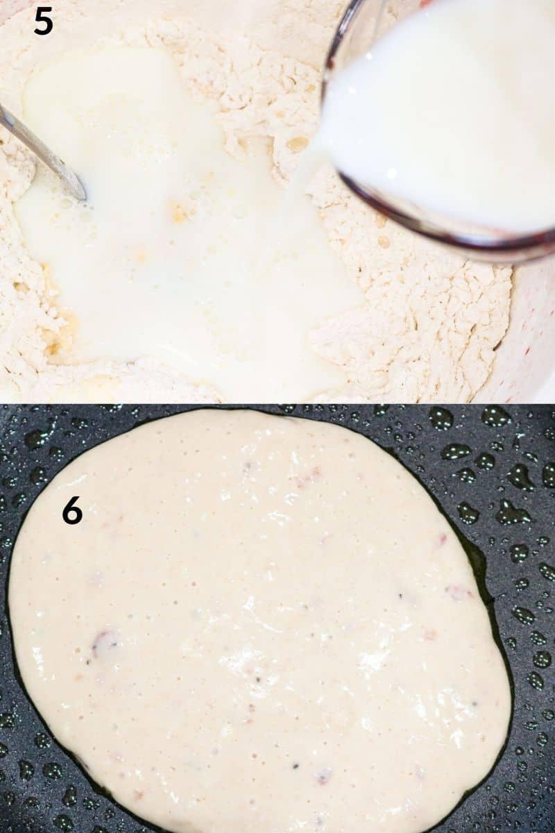 adding milk to batter then cook pancake