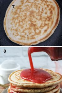 cooked pancake topped with syrup