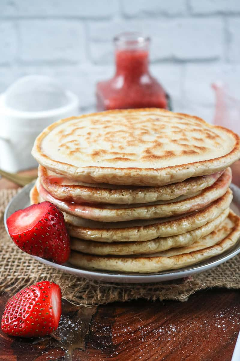 pancake on gray plate stacked up