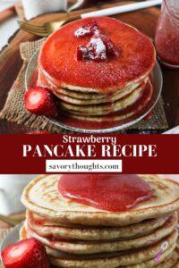 strawberry pancake recipe pin
