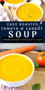 tomato carrot soup recipe in white bowls Pinterest Pin