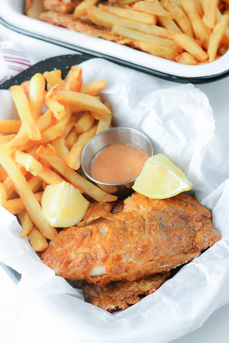 fish and chips in basket