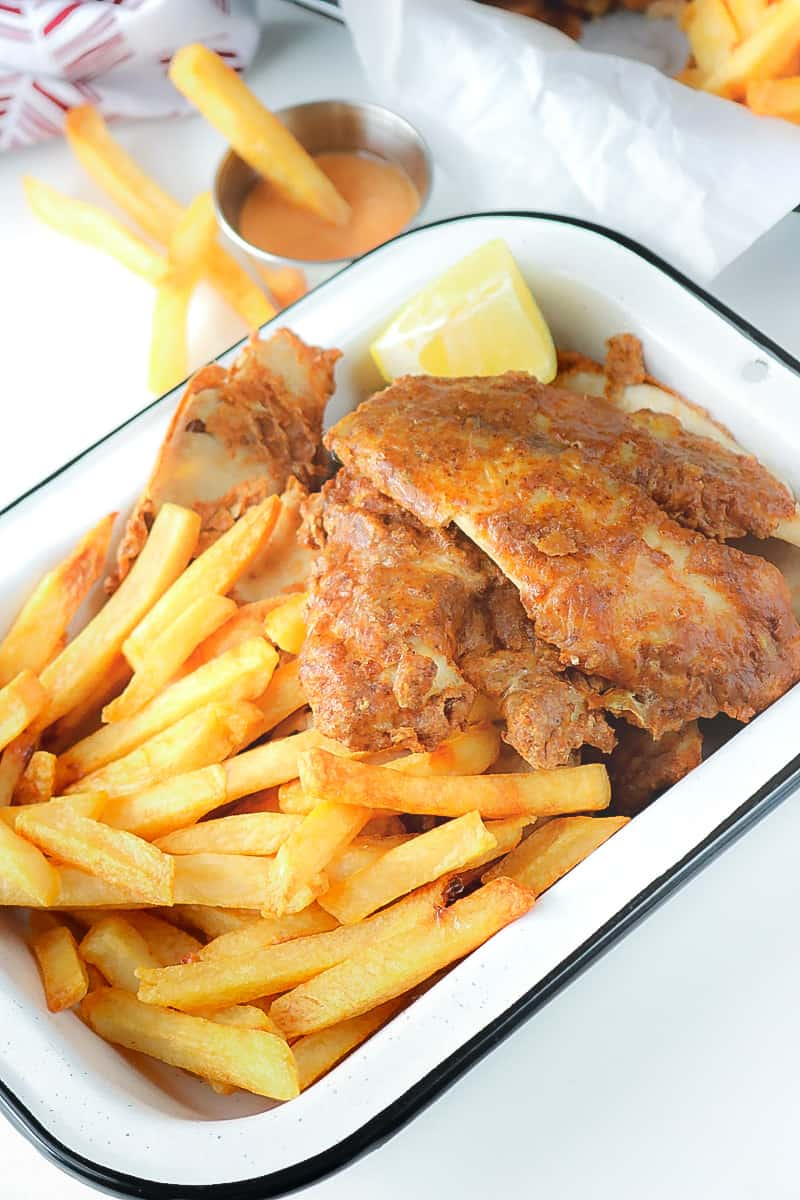 fish and fries on white plate
