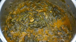 Cooked Lalo / jute leaves in instant pot