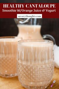 cantaloupe smoothie in glasses and pitcher Pinterest Pin