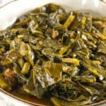 cooked greens in large bowl