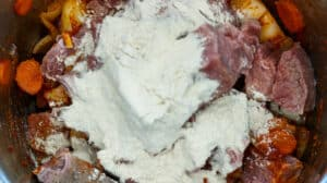 flour on top of meat