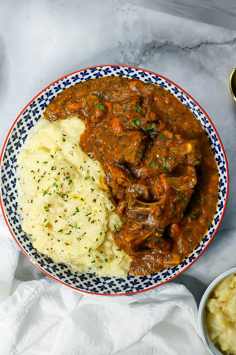 stew and turnip mas in plate