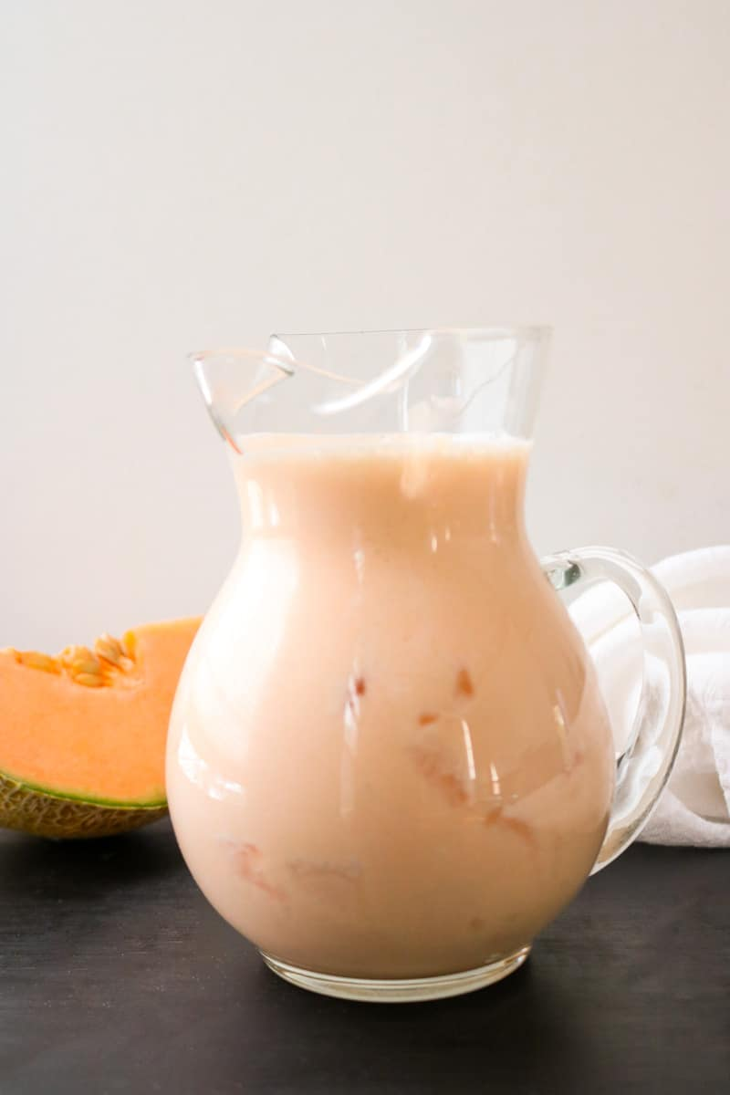 smoothie in clear glass pitcher