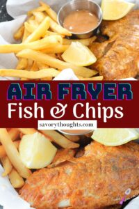 Air fryer fish and chips recipe Pinterest Pin