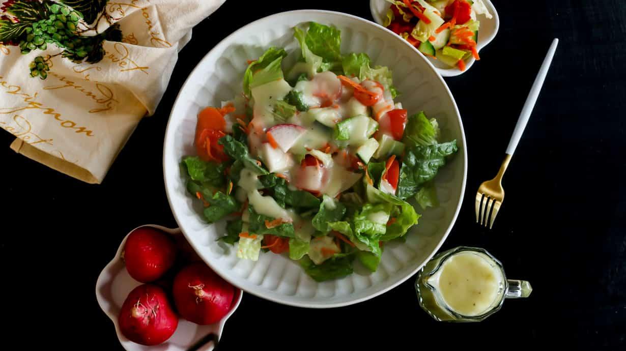 garden salad in large bowl