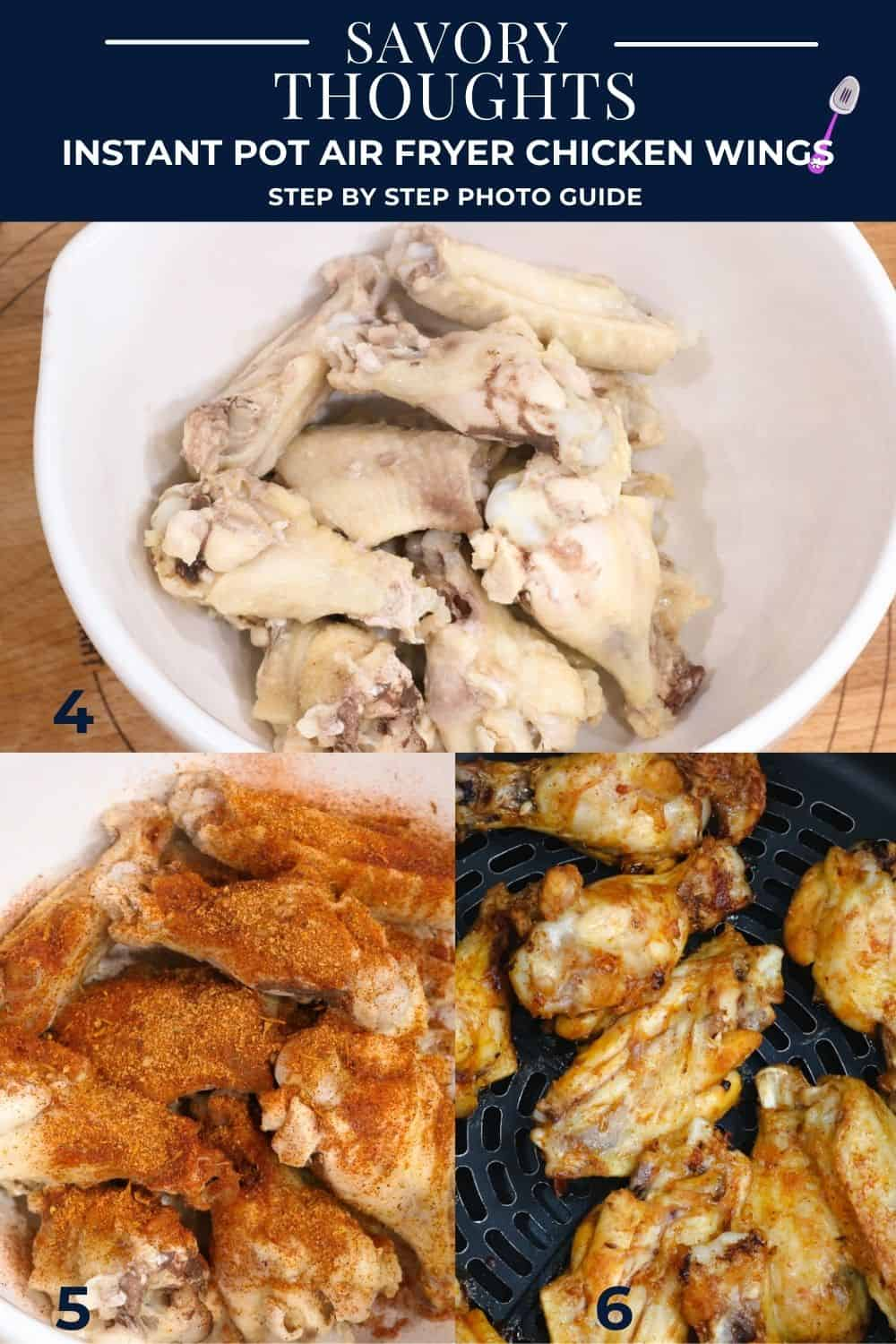 step by step guide to make instant pot air fryer chicken wings