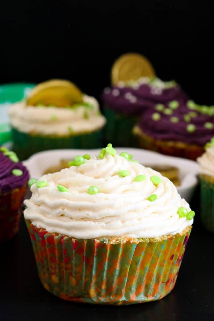 Irish cream cupcakes on black board