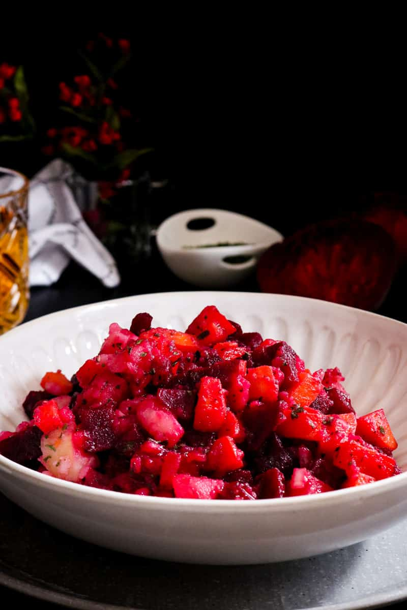 Salad Russe Recipe in white bowl