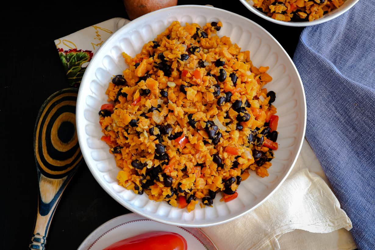 overhead view of sweet potato rice with beans