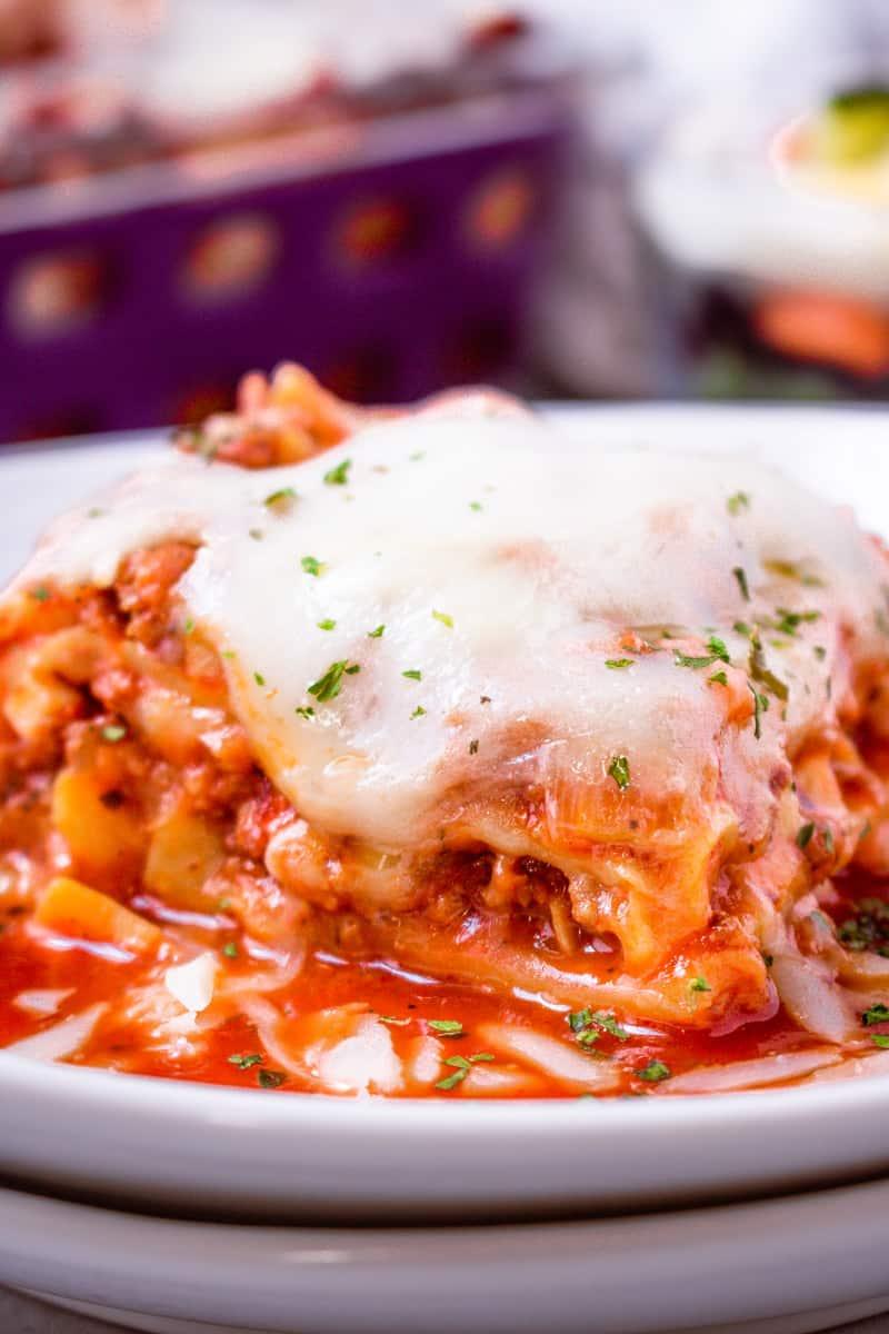 Air Fryer Lasagna Recipe Hero Shot- Savory Thoughts